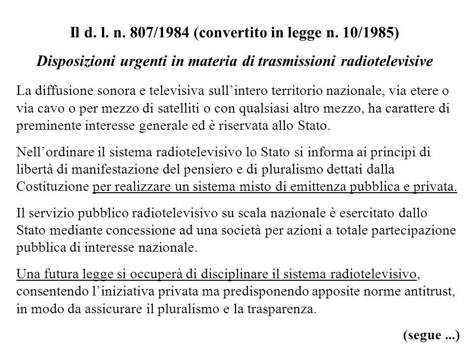 Il d. l. n. 807/1984 (convertito in legge n. 10/1985)