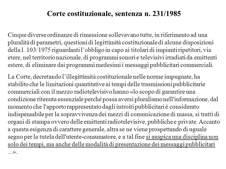 Corte costituzionale, sentenza n. 231/1985