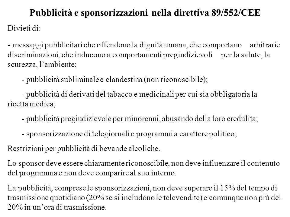 Pubblicità e sponsorizzazioni nella direttiva 89/552/CEE
