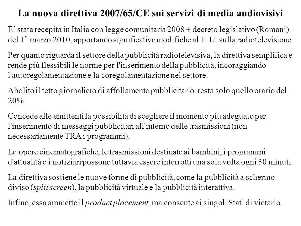 La nuova direttiva 2007/65/CE sui servizi di media audiovisivi