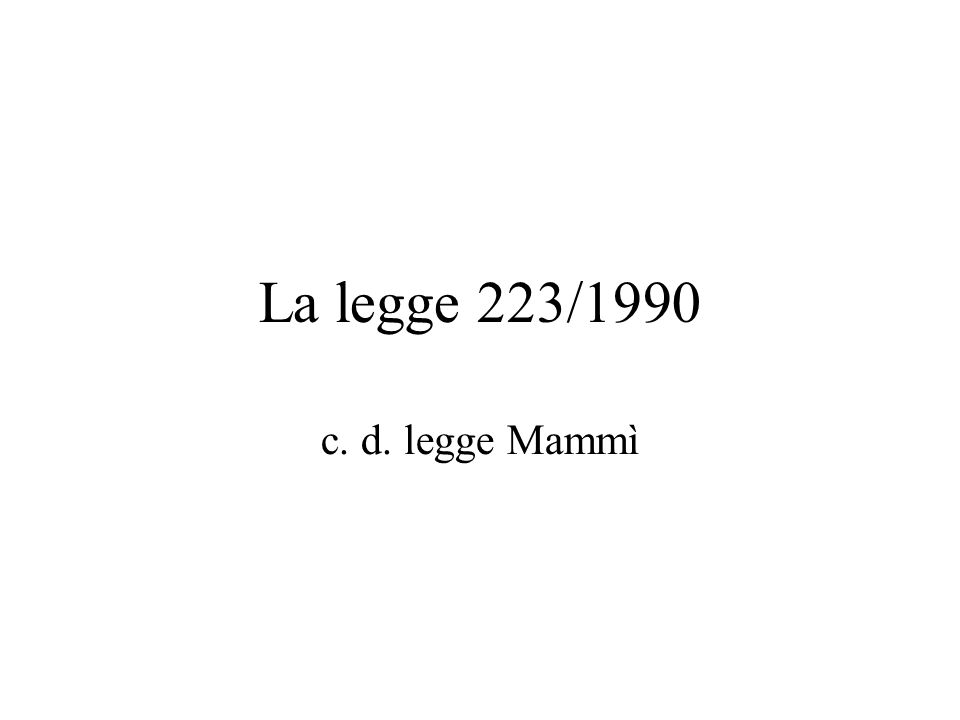 La legge 223/1990 c. d. legge Mammì
