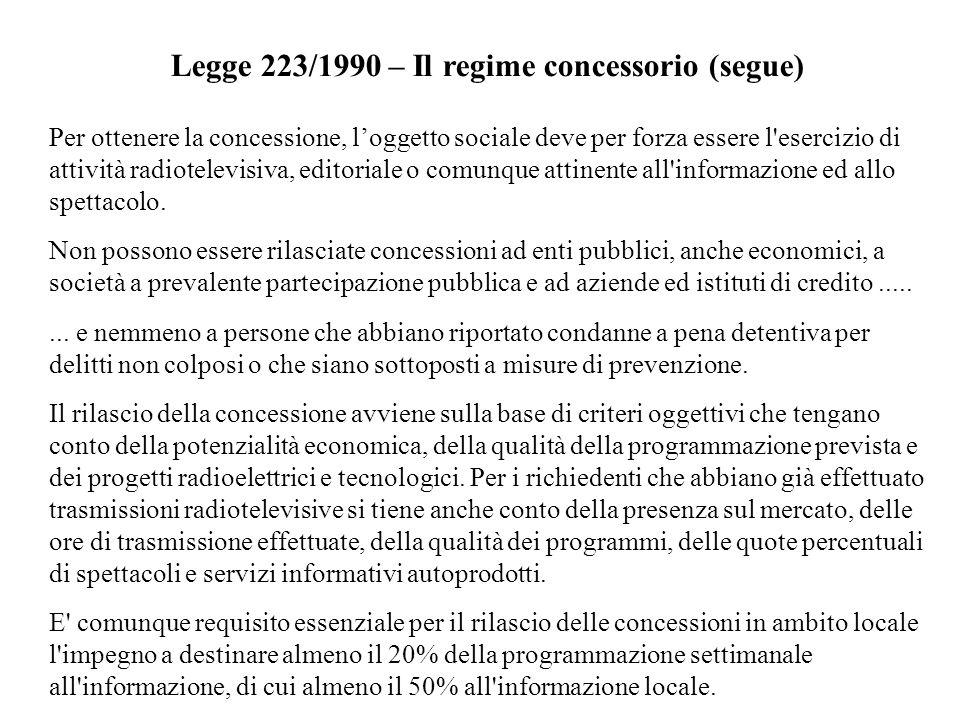 Legge 223/1990 – Il regime concessorio (segue)