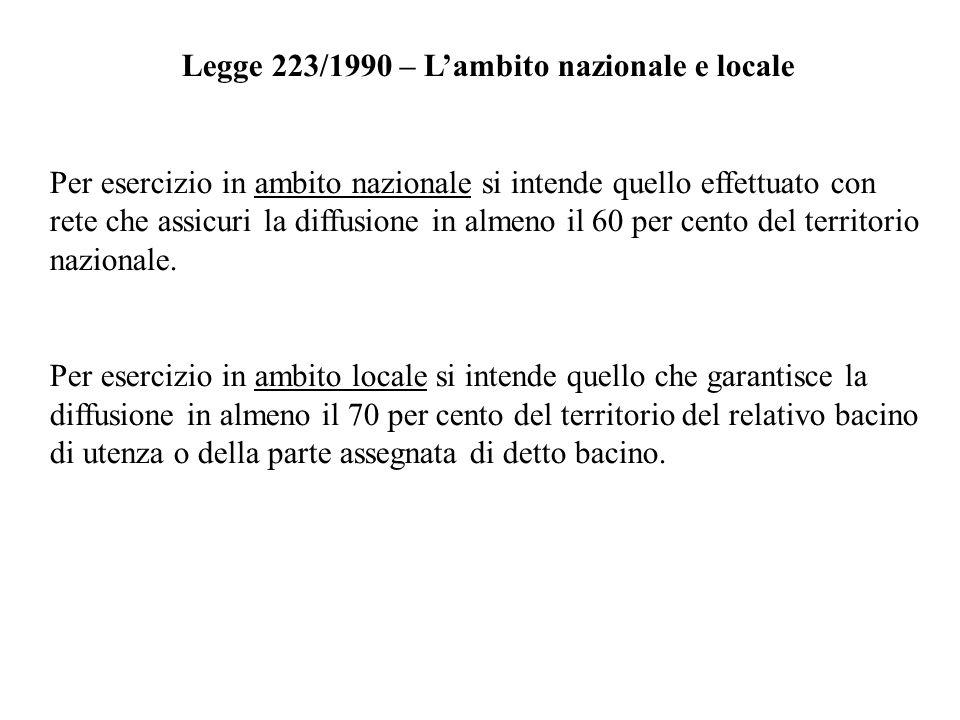 Legge 223/1990 – L'ambito nazionale e locale