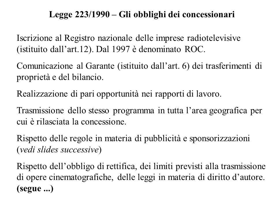 Legge 223/1990 – Gli obblighi dei concessionari