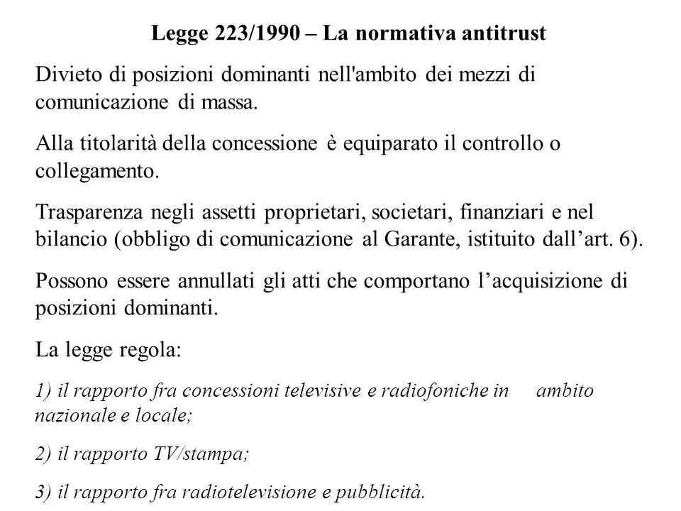 Legge 223/1990 – La normativa antitrust