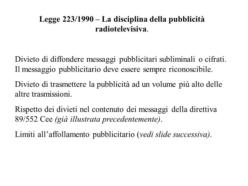 Legge 223/1990 – La disciplina della pubblicità radiotelevisiva.