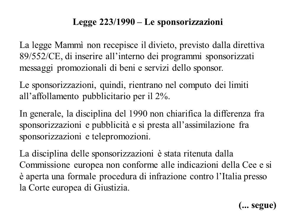 Legge 223/1990 – Le sponsorizzazioni