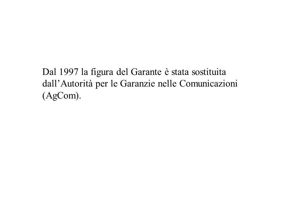 Dal 1997 la figura del Garante è stata sostituita dall'Autorità per le Garanzie nelle Comunicazioni (AgCom).
