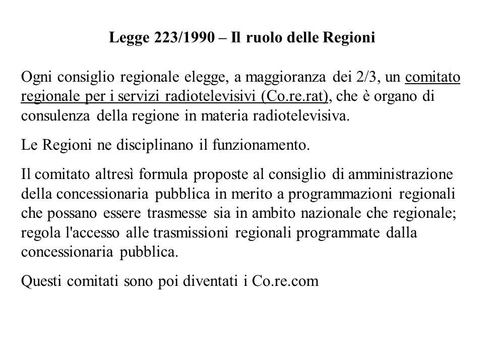 Legge 223/1990 – Il ruolo delle Regioni