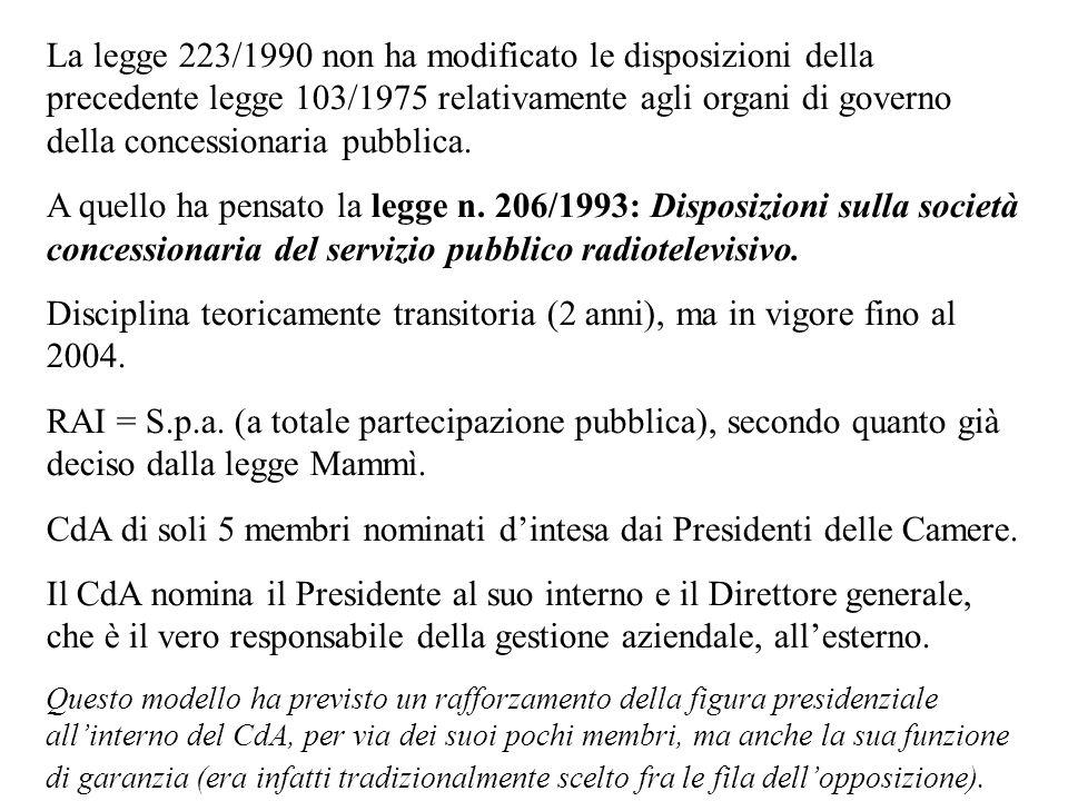 CdA di soli 5 membri nominati d'intesa dai Presidenti delle Camere.