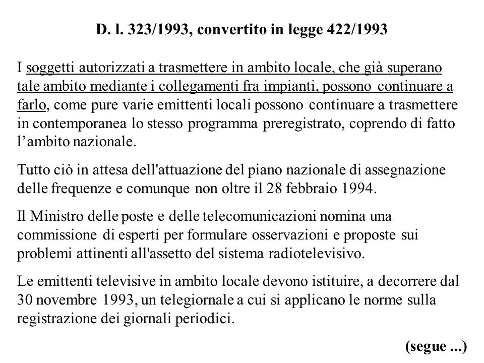 D. l. 323/1993, convertito in legge 422/1993