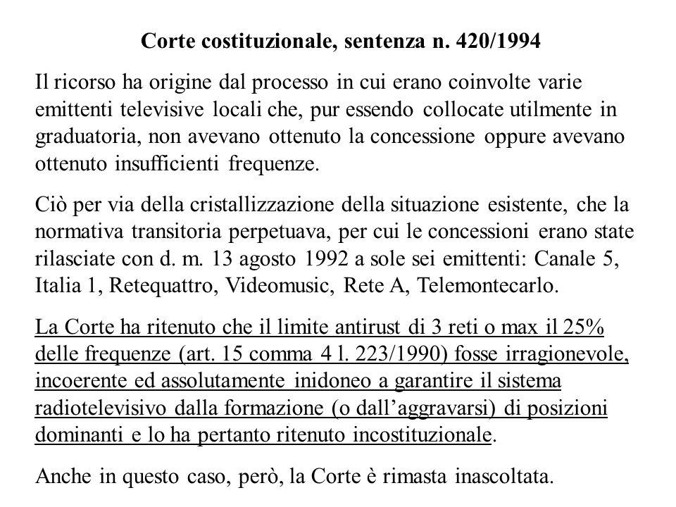 Corte costituzionale, sentenza n. 420/1994