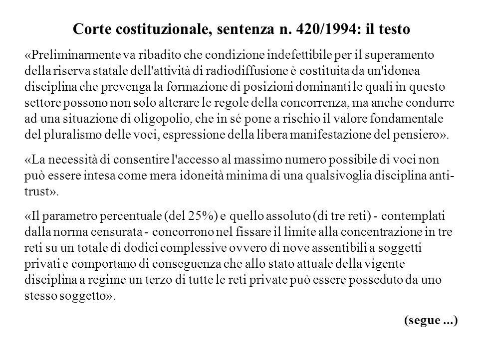 Corte costituzionale, sentenza n. 420/1994: il testo