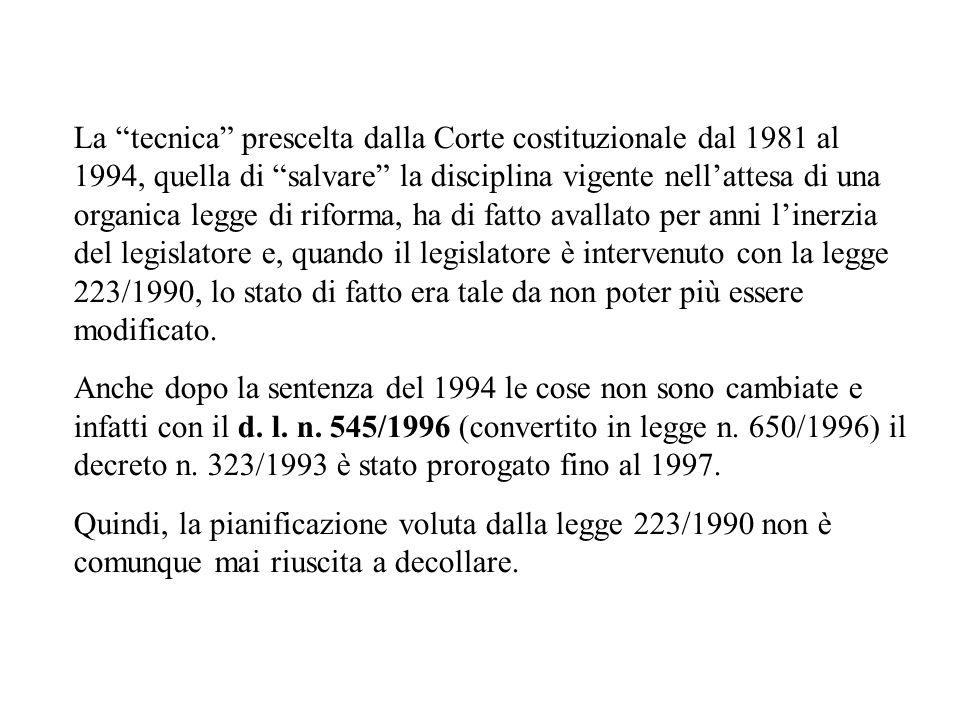La tecnica prescelta dalla Corte costituzionale dal 1981 al 1994, quella di salvare la disciplina vigente nell'attesa di una organica legge di riforma, ha di fatto avallato per anni l'inerzia del legislatore e, quando il legislatore è intervenuto con la legge 223/1990, lo stato di fatto era tale da non poter più essere modificato.