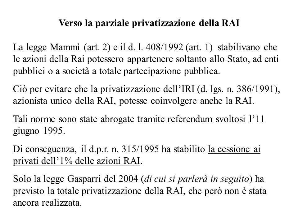 Verso la parziale privatizzazione della RAI