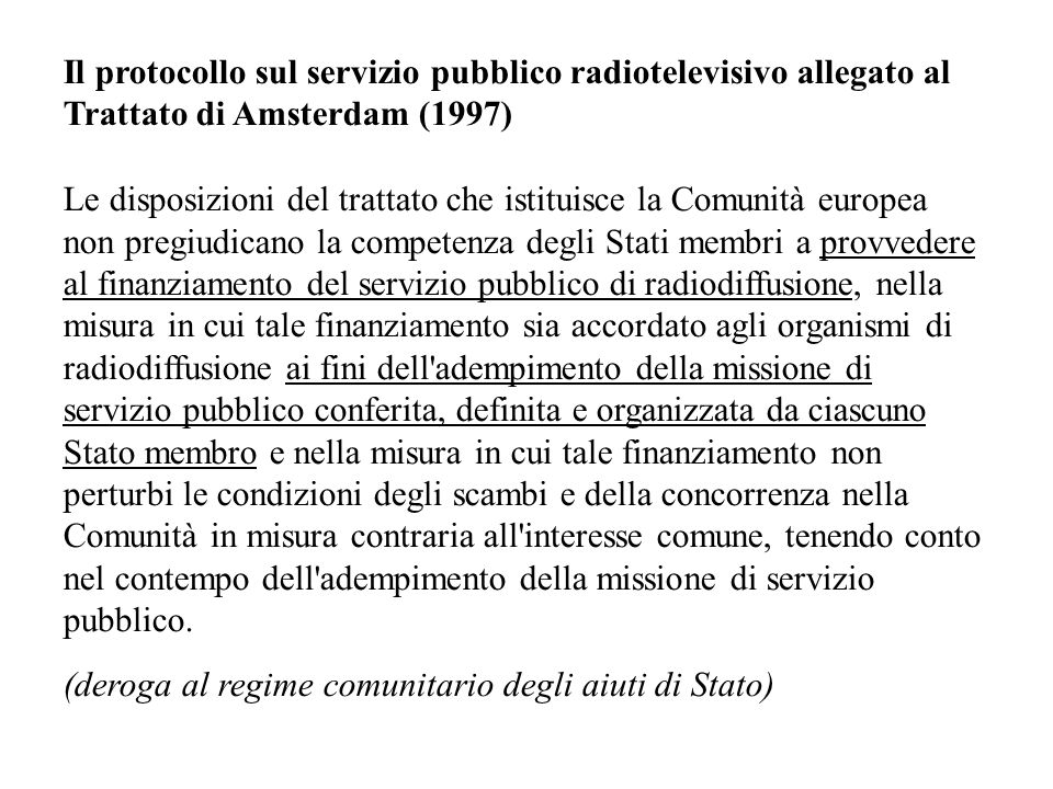 Il protocollo sul servizio pubblico radiotelevisivo allegato al Trattato di Amsterdam (1997)