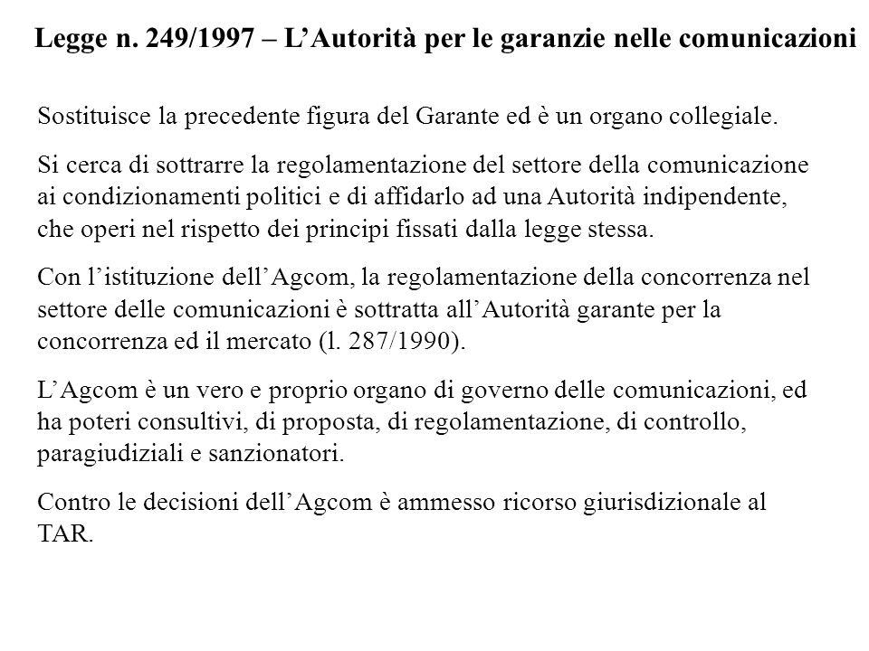 Legge n. 249/1997 – L'Autorità per le garanzie nelle comunicazioni