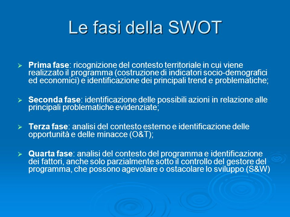 Le fasi della SWOT