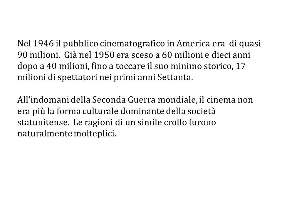 Nel 1946 il pubblico cinematografico in America era di quasi 90 milioni. Già nel 1950 era sceso a 60 milioni e dieci anni dopo a 40 milioni, fino a toccare il suo minimo storico, 17 milioni di spettatori nei primi anni Settanta.