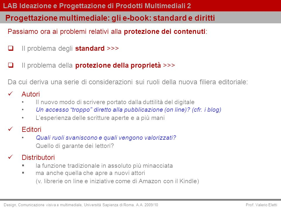 Progettazione multimediale: gli e-book: standard e diritti