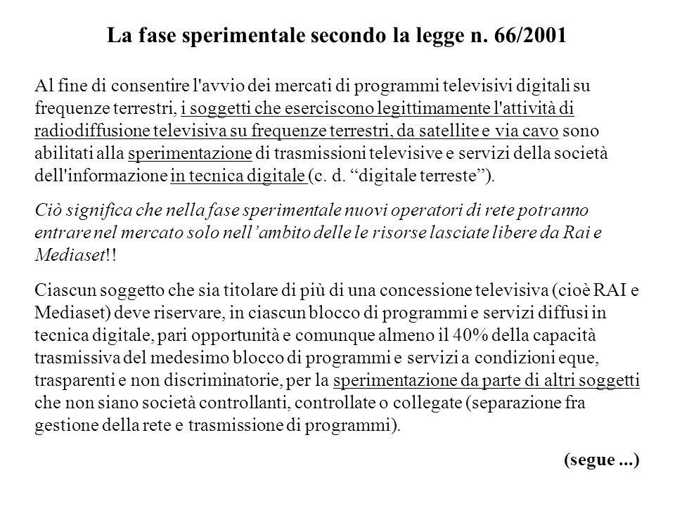 La fase sperimentale secondo la legge n. 66/2001