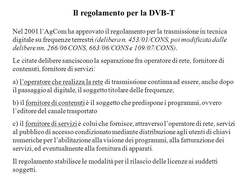 Il regolamento per la DVB-T