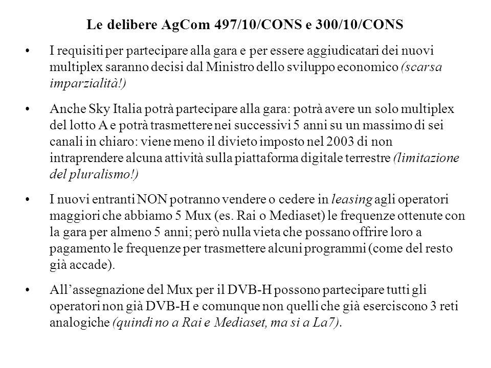 Le delibere AgCom 497/10/CONS e 300/10/CONS