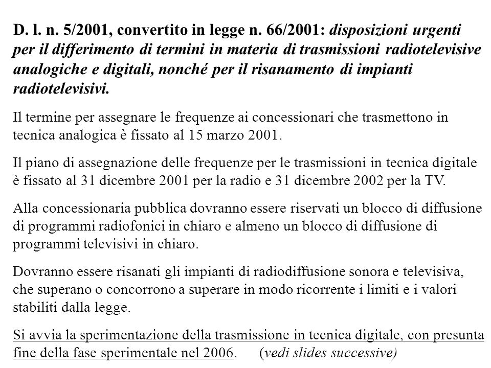 D. l. n. 5/2001, convertito in legge n