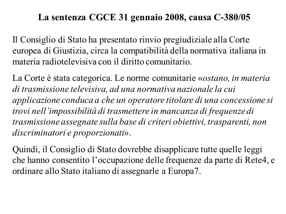 La sentenza CGCE 31 gennaio 2008, causa C-380/05
