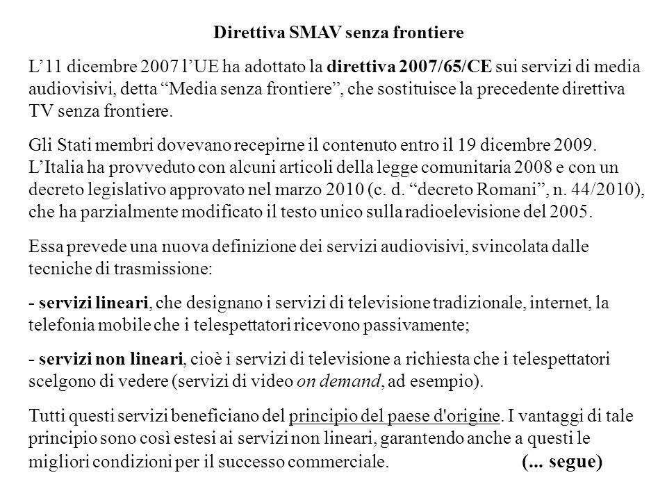 Direttiva SMAV senza frontiere
