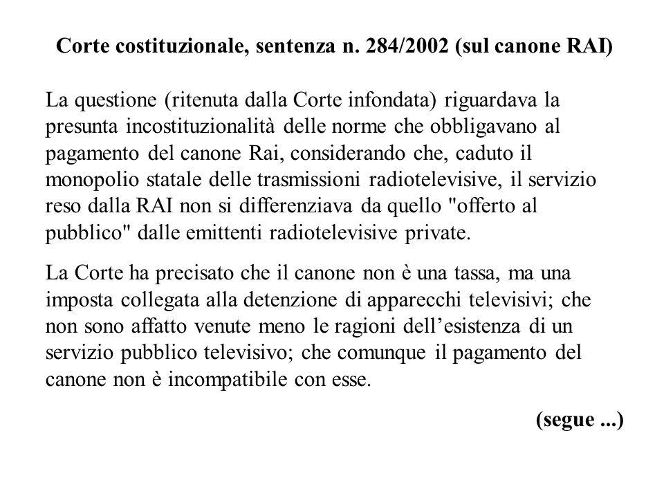 Corte costituzionale, sentenza n. 284/2002 (sul canone RAI)