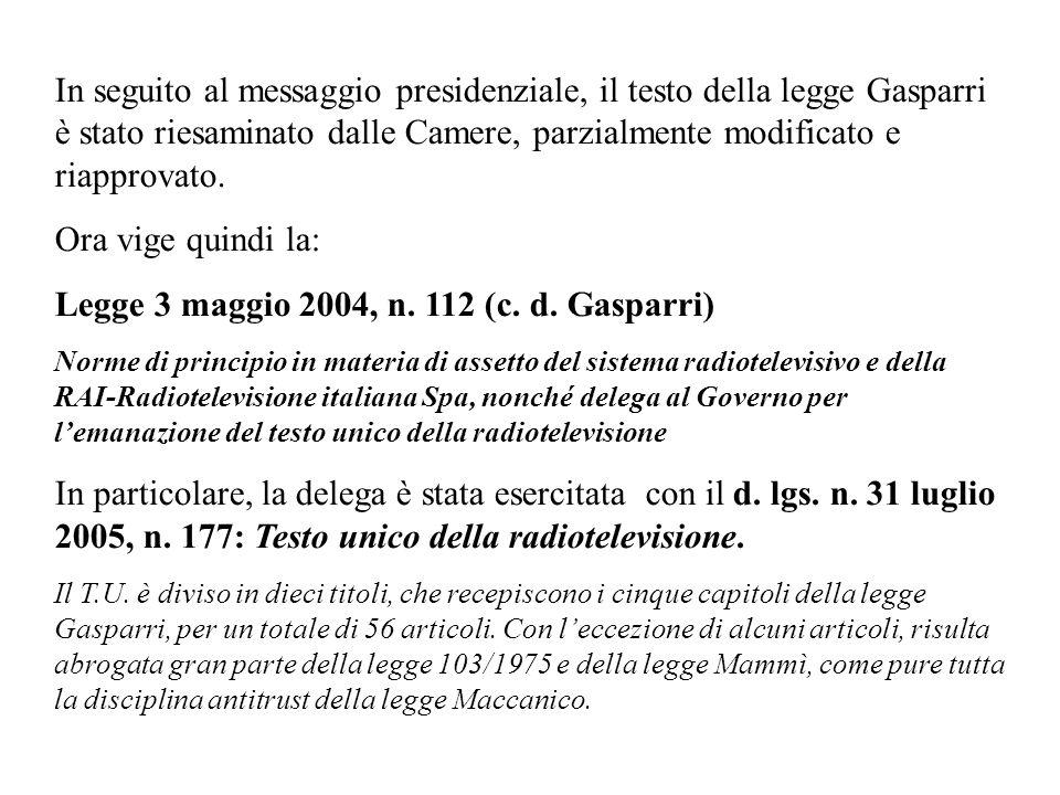 Legge 3 maggio 2004, n. 112 (c. d. Gasparri)