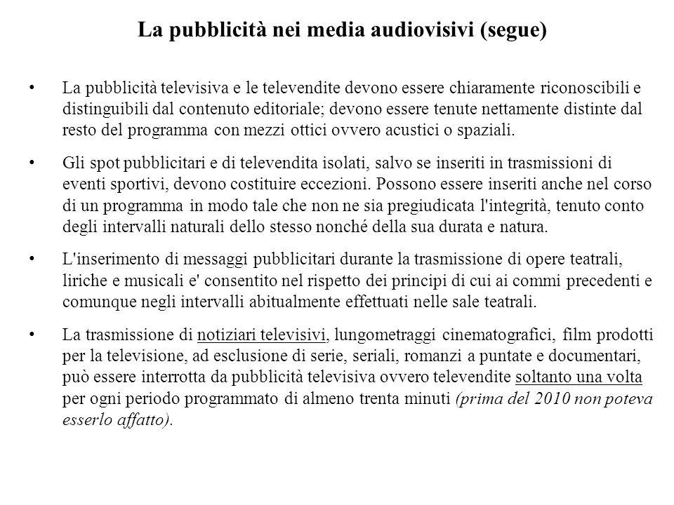 La pubblicità nei media audiovisivi (segue)