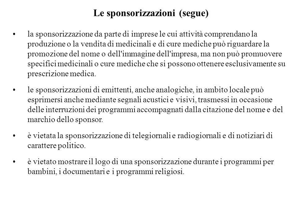 Le sponsorizzazioni (segue)