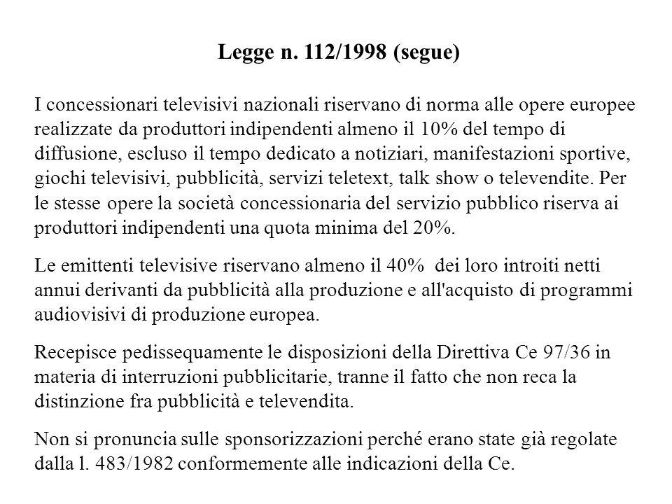 Legge n. 112/1998 (segue)