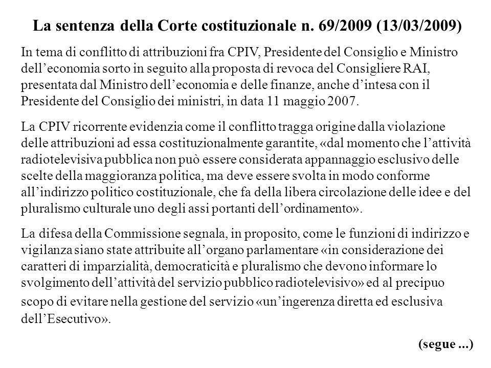 La sentenza della Corte costituzionale n. 69/2009 (13/03/2009)