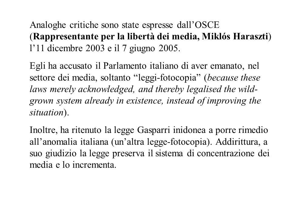 Analoghe critiche sono state espresse dall'OSCE (Rappresentante per la libertà dei media, Miklós Haraszti) l'11 dicembre 2003 e il 7 giugno 2005.