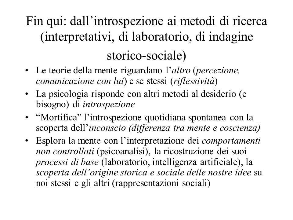 Fin qui: dall'introspezione ai metodi di ricerca (interpretativi, di laboratorio, di indagine storico-sociale)