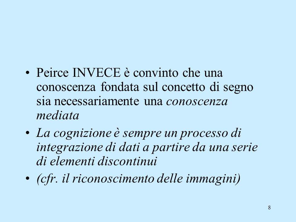 Peirce INVECE è convinto che una conoscenza fondata sul concetto di segno sia necessariamente una conoscenza mediata