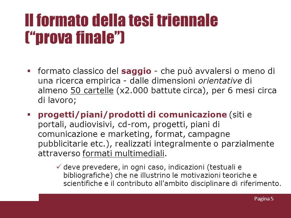 Il formato della tesi triennale ( prova finale )