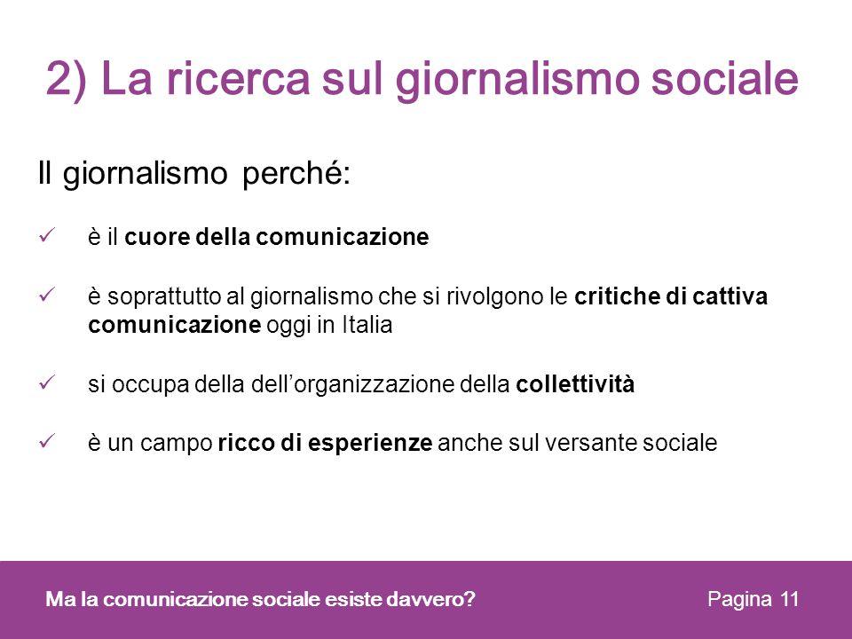 2) La ricerca sul giornalismo sociale