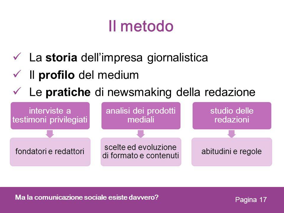 Il metodo La storia dell'impresa giornalistica Il profilo del medium