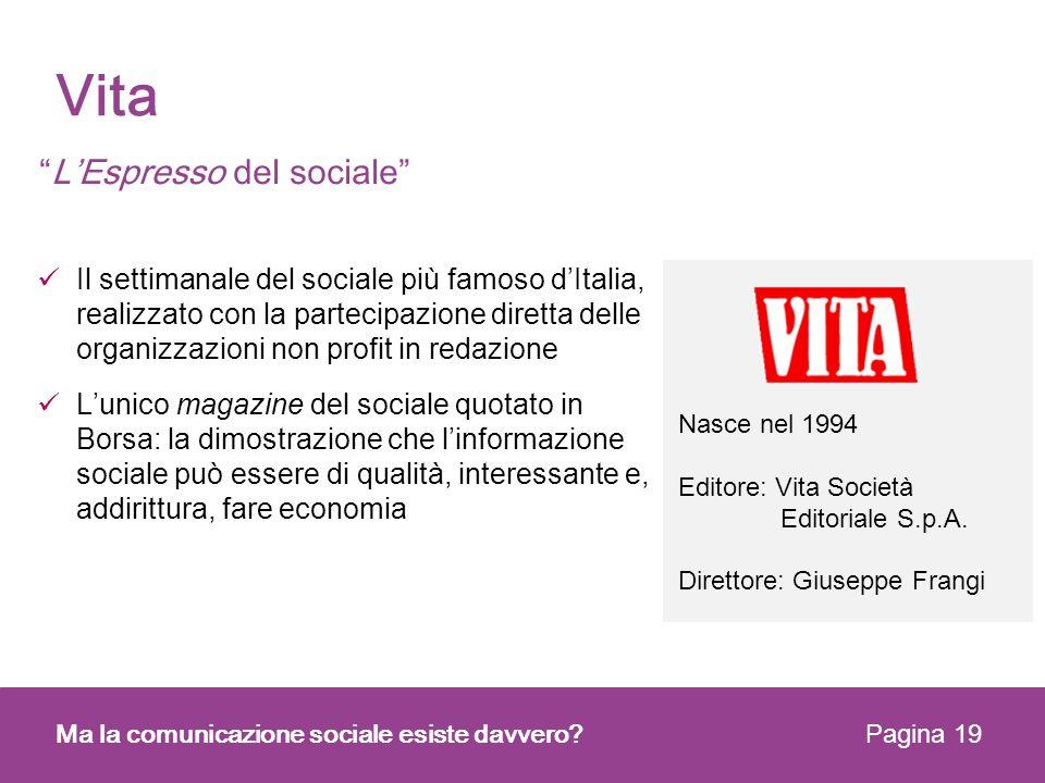 Vita L'Espresso del sociale