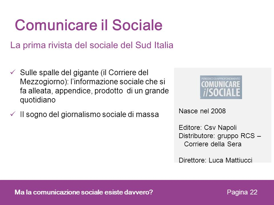 Comunicare il Sociale La prima rivista del sociale del Sud Italia