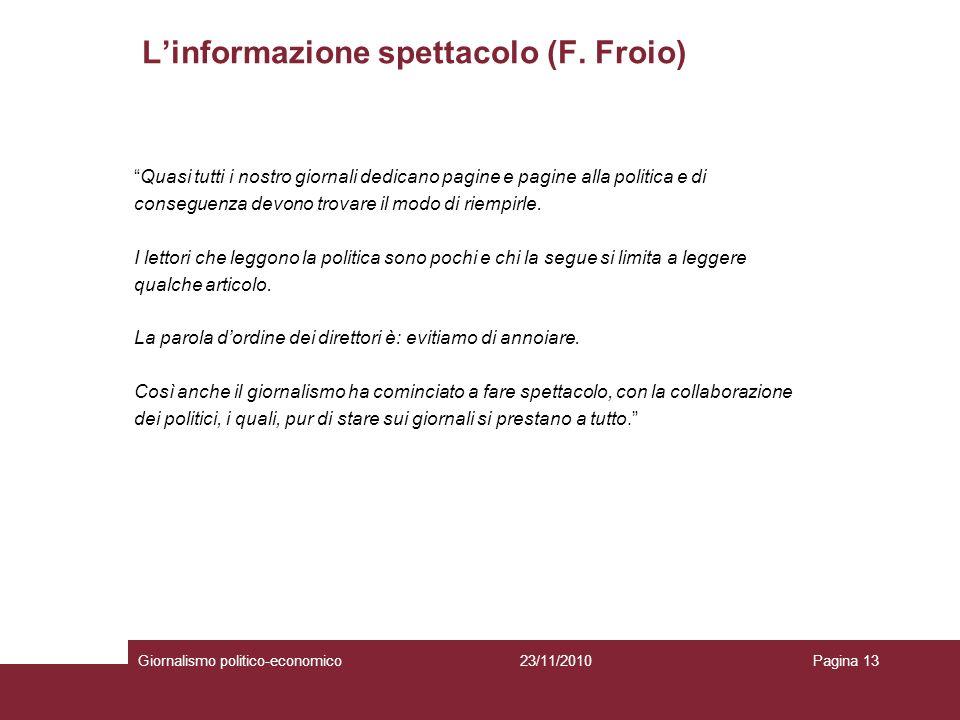L'informazione spettacolo (F. Froio)