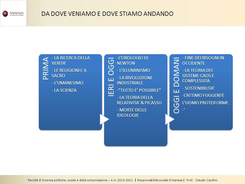 DA DOVE VENIAMO E DOVE STIAMO ANDANDO