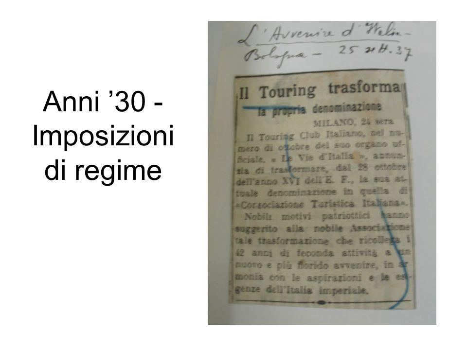 Anni '30 - Imposizioni di regime