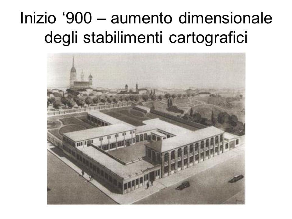 Inizio '900 – aumento dimensionale degli stabilimenti cartografici