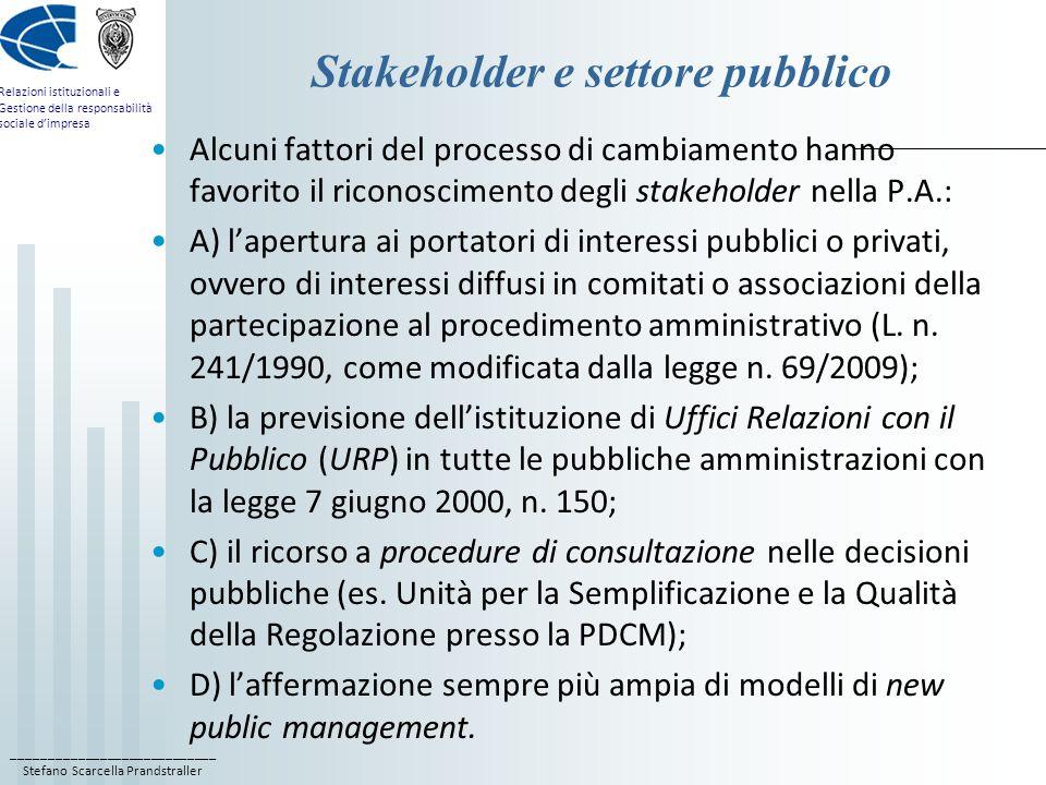 Stakeholder e settore pubblico