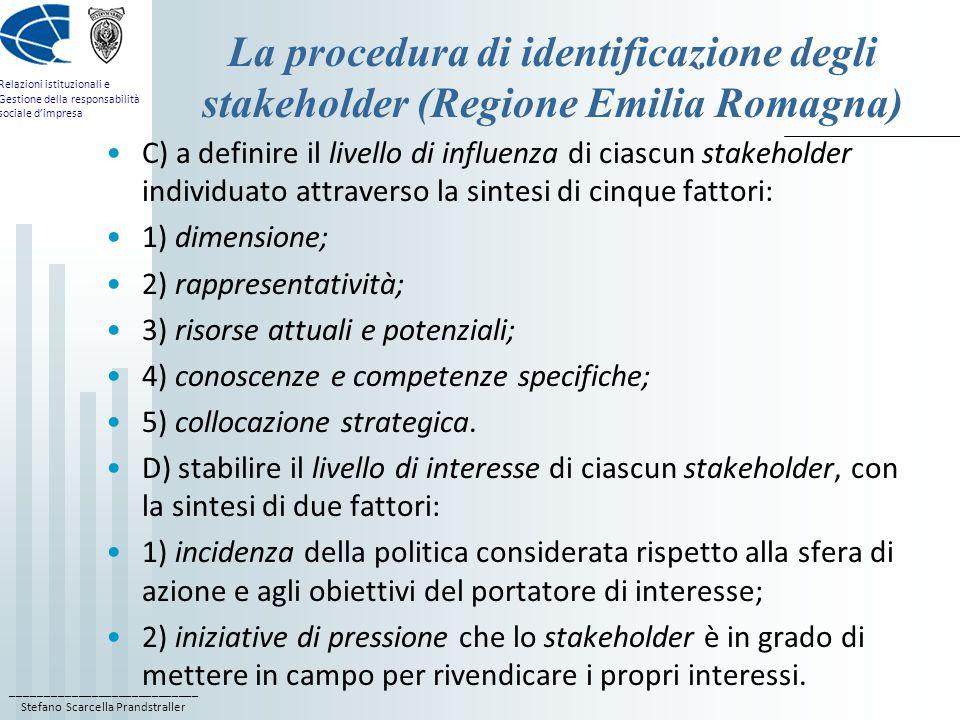 La procedura di identificazione degli stakeholder (Regione Emilia Romagna)